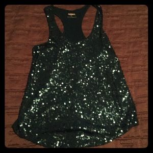 Dark blue sequin tank top.